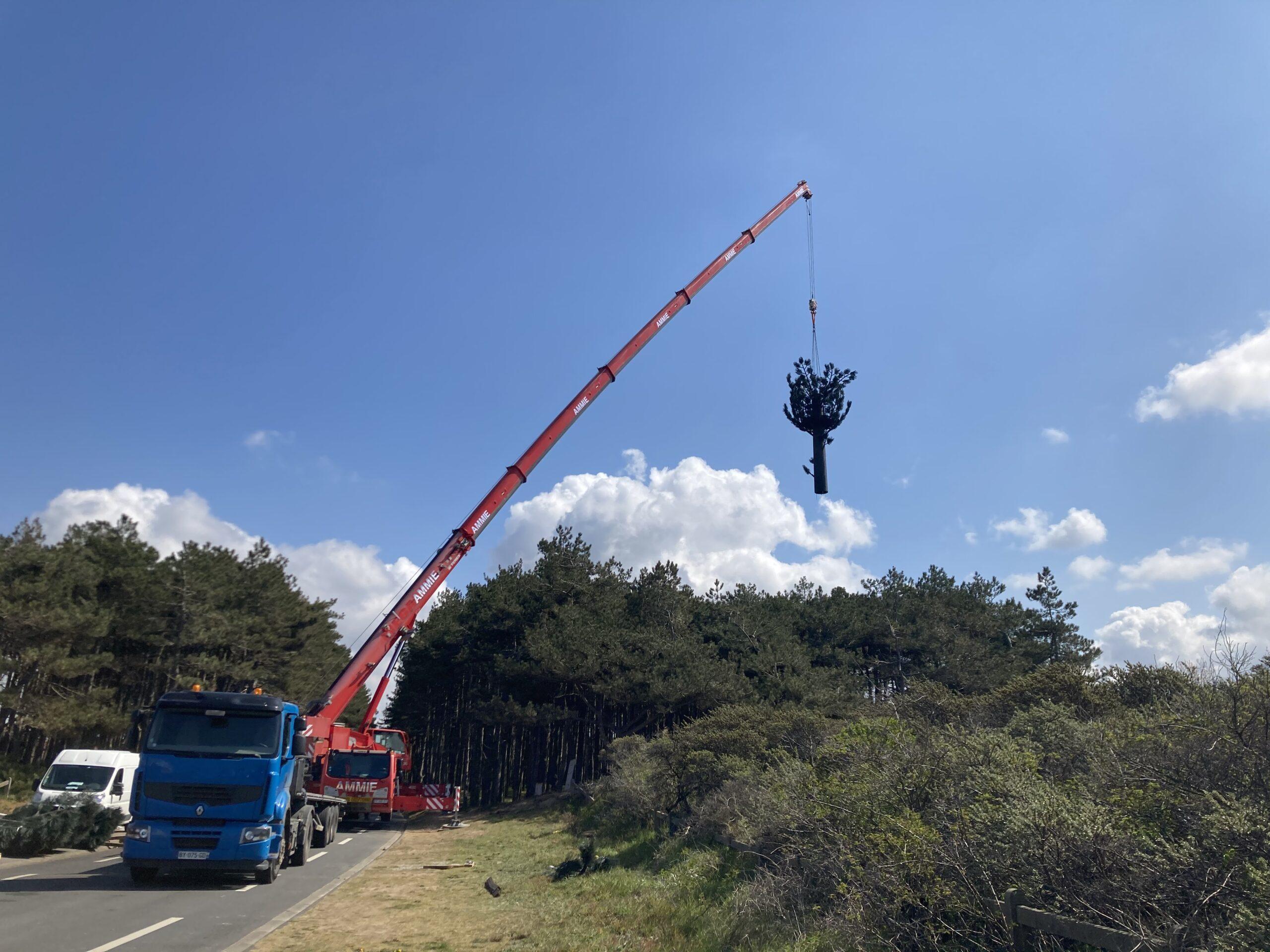 Le montage du pylône de Neufchâtel-Hardelot en images